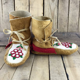 Red/White Beaded Moose Hide Wrap Arounds