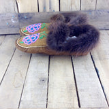 Pink/Blue Beaded Moose Hide Slippers with Beaver Fur