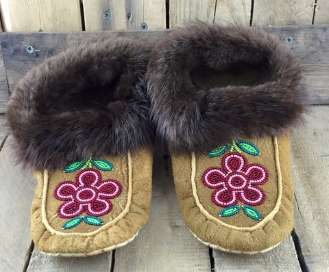 Red and Pink Beaded Flowers on Hand Tanned Moose Hide Slippers with Beaver Fur