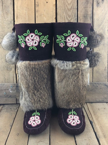 Burgundy commercial hide and stroud mukluks with brown rabbit fur