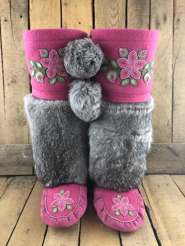 Bright pink commercial hide and stroud mukluks with grey rabbit fur