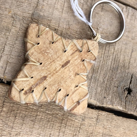 Star shaped birch bark key ring