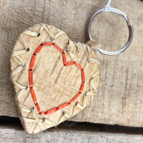 Heart shaped birch bark key ring with orange stitching
