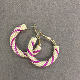 Antique White and Pink Beaded Hoop Earrings