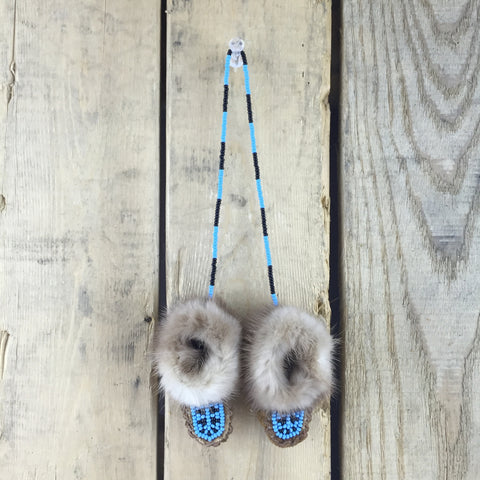 Mini Beaded Decorative Moose Hide Slippers