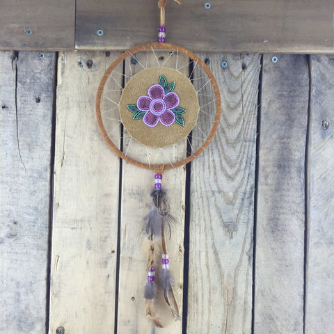 Tanned Moose Hide Dreamcatcher with Moose Hair Tufting