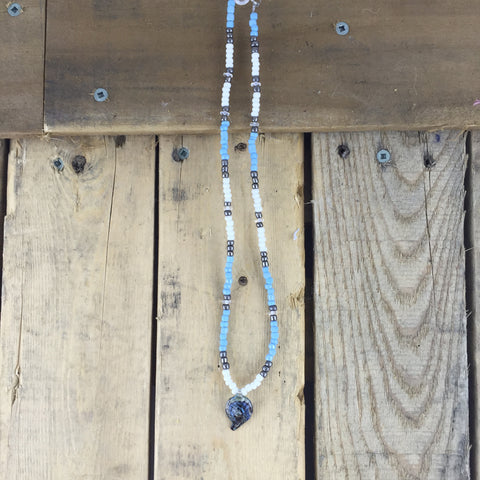 Beaded Necklace with Shell Pendant
