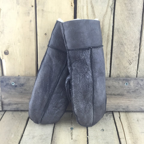Dark Brown Sheepskin Mitts