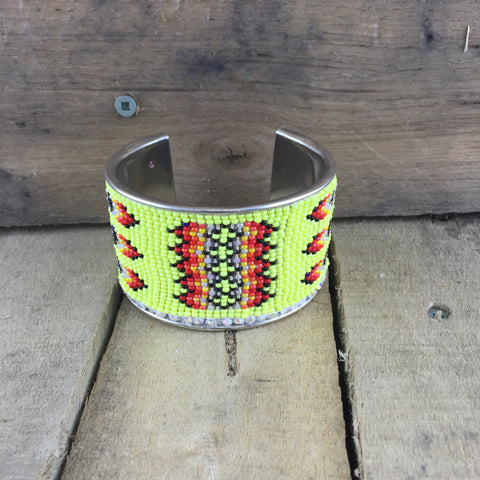 Neon Yellow Beaded Cuff Bangle