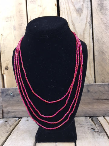 Beaded Red/Gold/Pink Four String Necklace with Silver Clasp