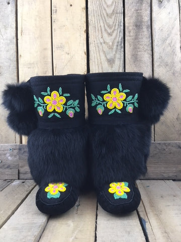 Factory Hide Mukluks with Black Stroud and Black Rabbit Fur Yellow Flower Pink Centre