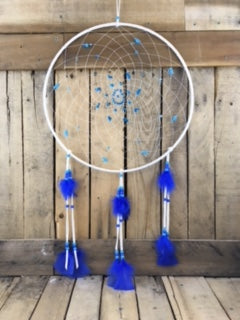 Factory Hide White Dreamcatcher with Blue Stones/blue beads/Blue Feathers