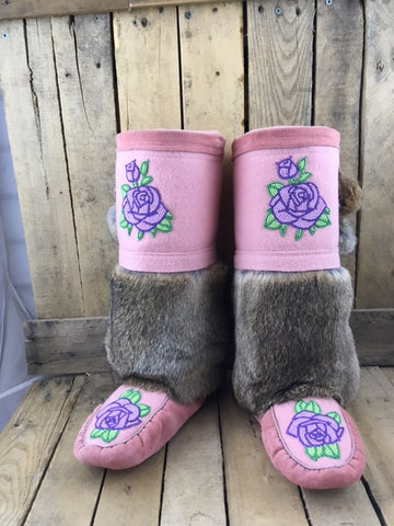 Pink Factory Hide with Pink Stroud Mukluks with Rabbit Fur and Light Pink Flower