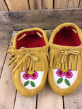 Factory Hide 4 Petal Red/Pink Flowered Moccasins with Fringe