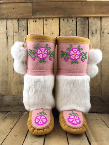 Moosehide Mukluks Pink Stroud and White Rabbit Fur c/w Hot Pink/Light Pink flower
