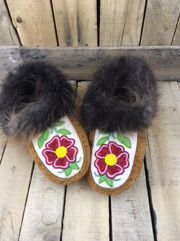 Moosehide Beaver Fur Moccasins with Red/Pink Beaded Flower with Yellow Centre