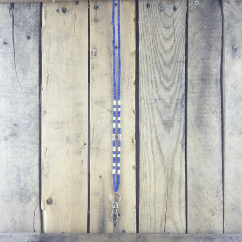 Blue and White Beaded Lanyard