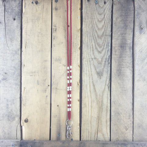 Red and White Beaded Lanyard