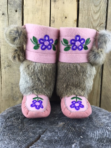 Factory Hide Rabbit Fur Trim Mukluks with Pink Stroud and Purple/Pink Flowers