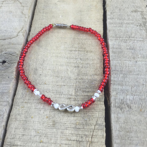Red Beaded Anklet