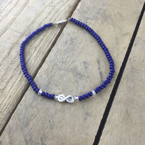 Navy Blue Beaded Anklet