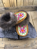 Moosehide Beaver Fur Cuff Moccasins with Pink/Wine Flower and Orange Center