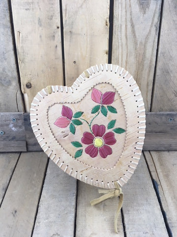 Heart Shaped Birch Bark Basket with Red Porcupine Quill Flowers