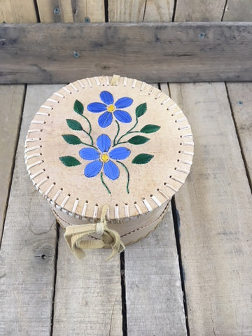 Small Round Birch Bark Basket with Blue Porcupine Quill Flowers