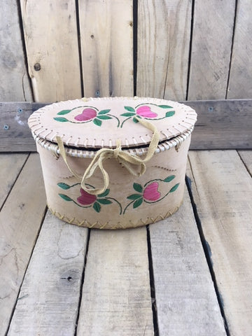 Small Oval Birch Bark Basket with Red and Pink Porcupine Quill Flowers