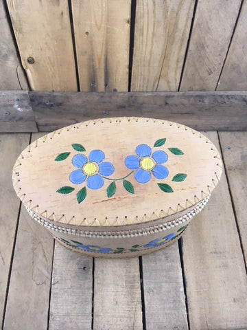 Large Oval Birch Bark Basket with Baby Blue Porcupine Quill Flowers