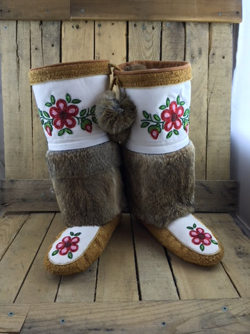 Moose Hide Mukluks with White Micro Suede Brown Rabbit Fur and Red/Pink Flowers