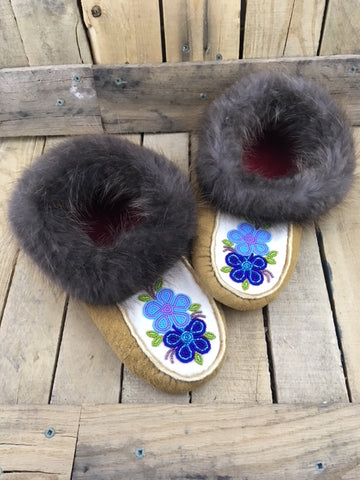 Moose Hide Moccasins with Beaver Fur and 1 Dark 1 Light Blue Flowers