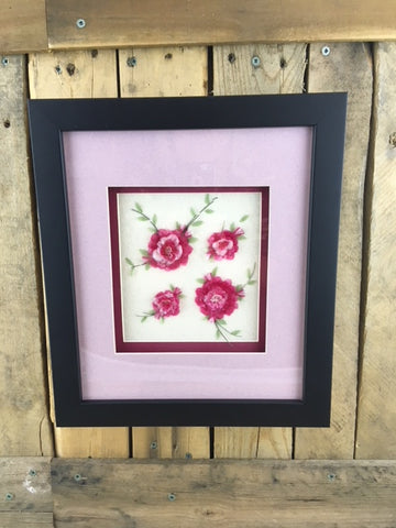 Professionally Framed Fish Scale Art - 4 Pink Flowers with Leaves