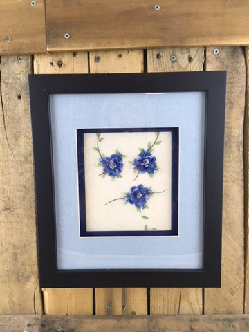 Professionally Framed Fish Scale Art - 3 Blue Flowers with Leaves