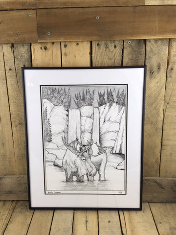 Professionally Framed Ink Drawing - Moose
