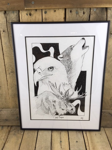 Professionally Framed Ink Drawing - Moose/Eagle/Wolf