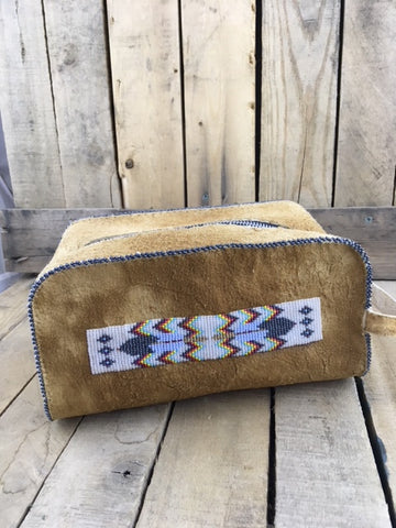 Beaded Full Hide Shaving Kit/Make up bag