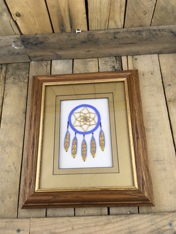 Professionally Framed Beaded/Caribou Tufting Dreamcatcher in Blue and Gold