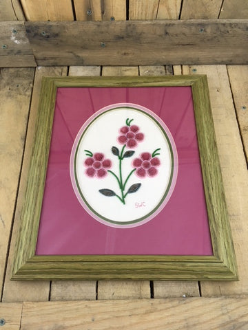 Professionally Framed Moose Hair Tufting with 3 Pink Flowers