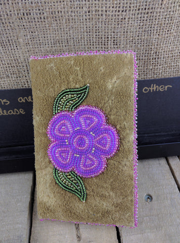 Moose Hide Phone Case Pink and Purple Beaded Flower