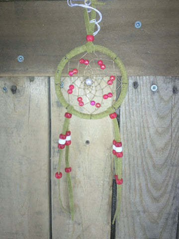 Small Beaded Dream-catchers with Red / White and Silver Beading