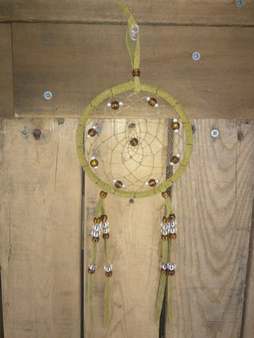 Medium Beaded Dream-catchers with Brown / Clear and Pearl Beading