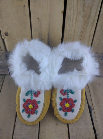 Factory Hide Moccasins with Red Flower Beading