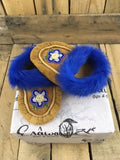 Moose Hide Moccasins Dyed Blue Rabbit Fur Trim and Beaded Blue 5 Petal Flower