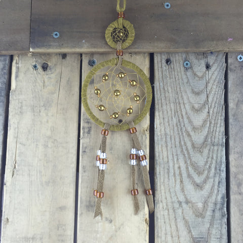 2-Tiered Brown Leather Dreamcatcher