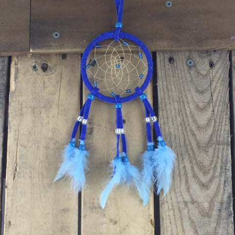Blue Leather Beaded Dreamcatcher with Blue Beads
