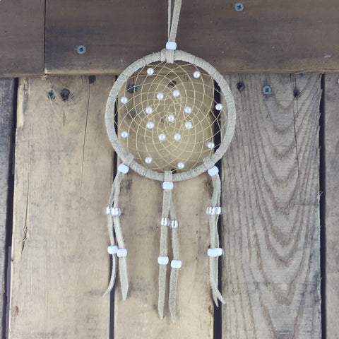 Tan Leather Beaded Dreamcatcher with White Pearl Beads