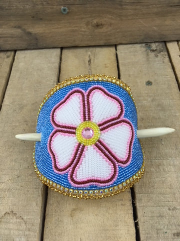 X-Large Beaded Barrette -  Pink/Red and White Flower with Hand Carved Red Willow Barrette Stick
