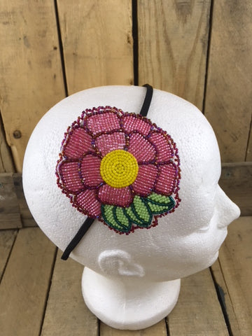 Headband with Large 12 Petal Pink Beaded Flower on White Hide Backing