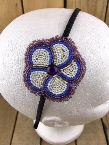 Headband with Blue and White beaded 5 Petal Flower on Stroud Backing